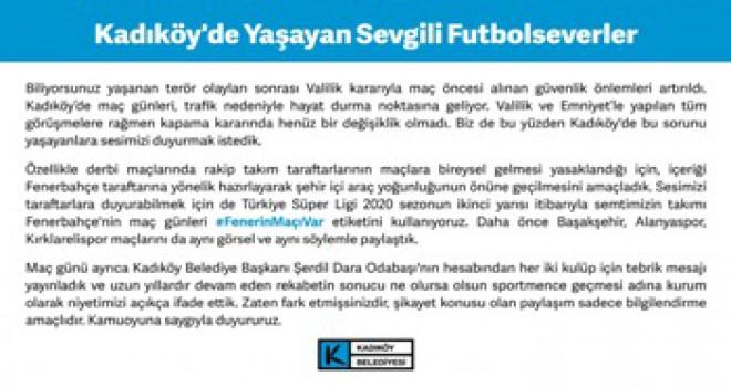 Fenerbahçe-Galatasaray derbisi nedeniyle yapılan duyuruya yönelik açıklama