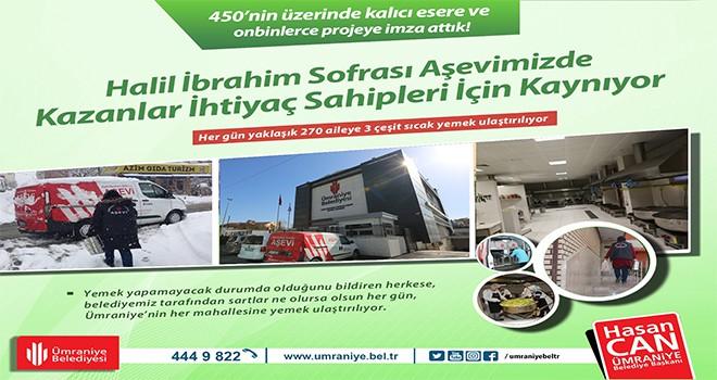 Ümraniye Belediyesi Halil İbrahim Sofrası Aşevi'ndeki Kazanlar İhtiyaç Sahipleri İçin Kaynamaya Devam Ediyor